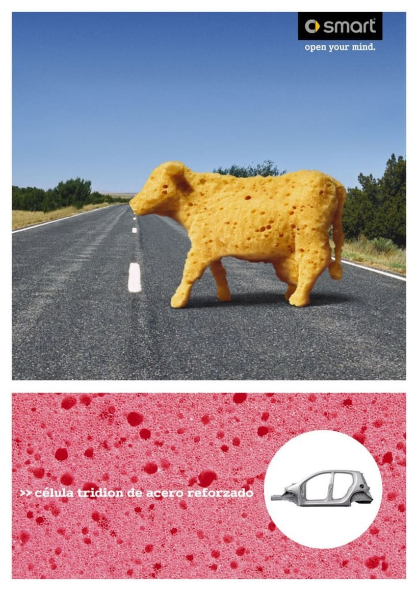 vaca, piedras, arbol, camión 1