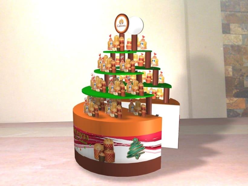 Diseño de arbol navideño doble para exhibicion del producto 1