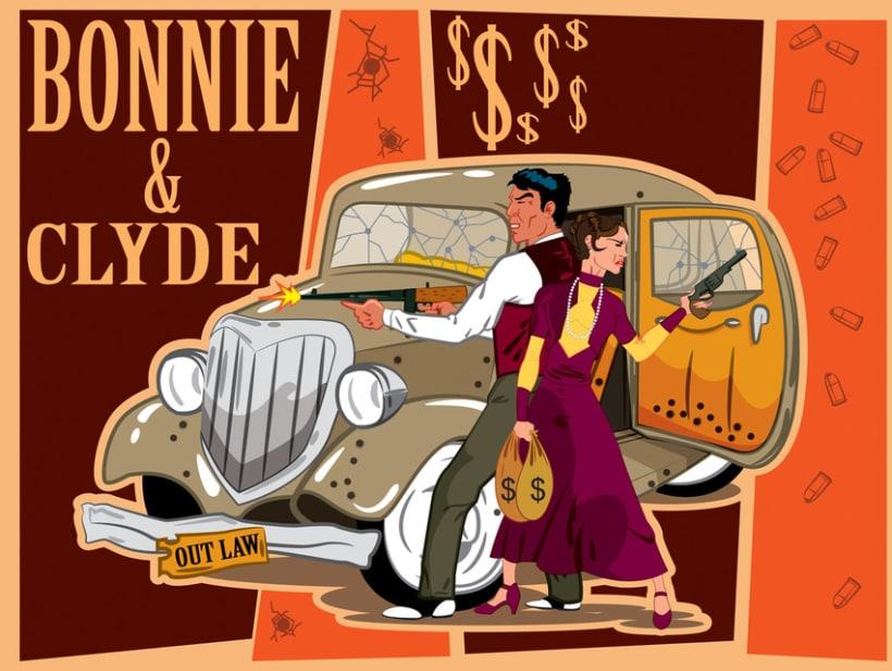 BONNIE & CLYDE VECTOR ART 4