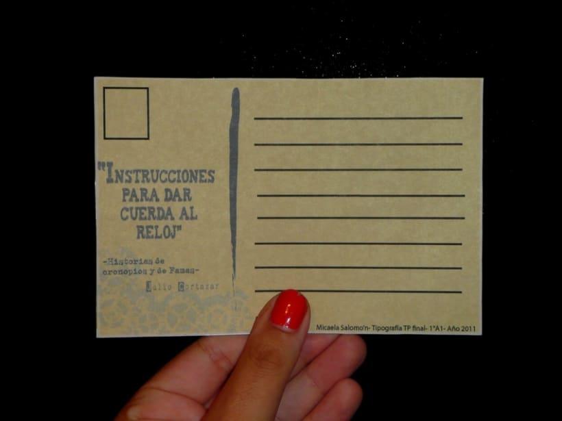 Instrucciones para dar cueda al reloj- postales 1