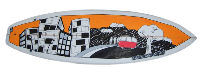 Ilustración sobre tabla de surf 1
