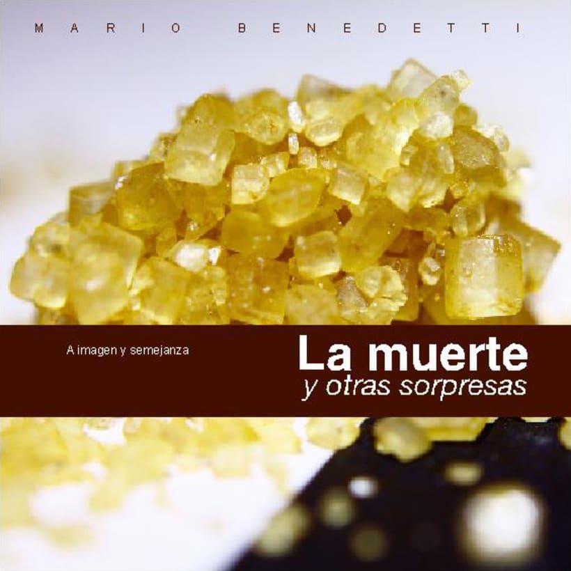Portada, contraportada y doble página para un texto de Mario Benedetti 1