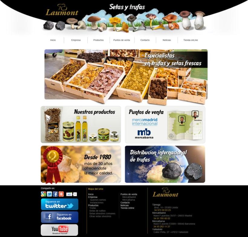 Diseño web para empresa de setas y trufas. 2