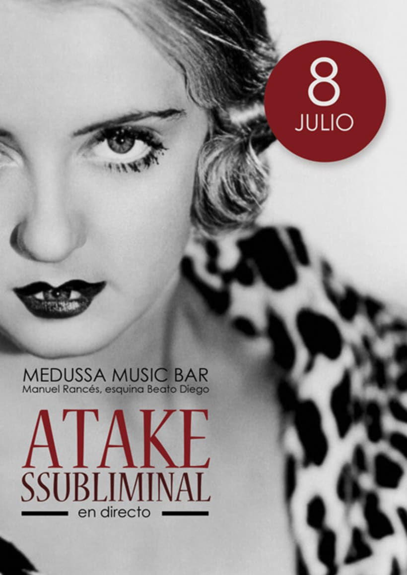Atake Subliminal: Cartel concierto Sala Medussa (Cádiz) 3