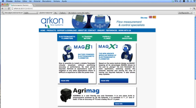 Diseño web Arkon Flow Systems 2