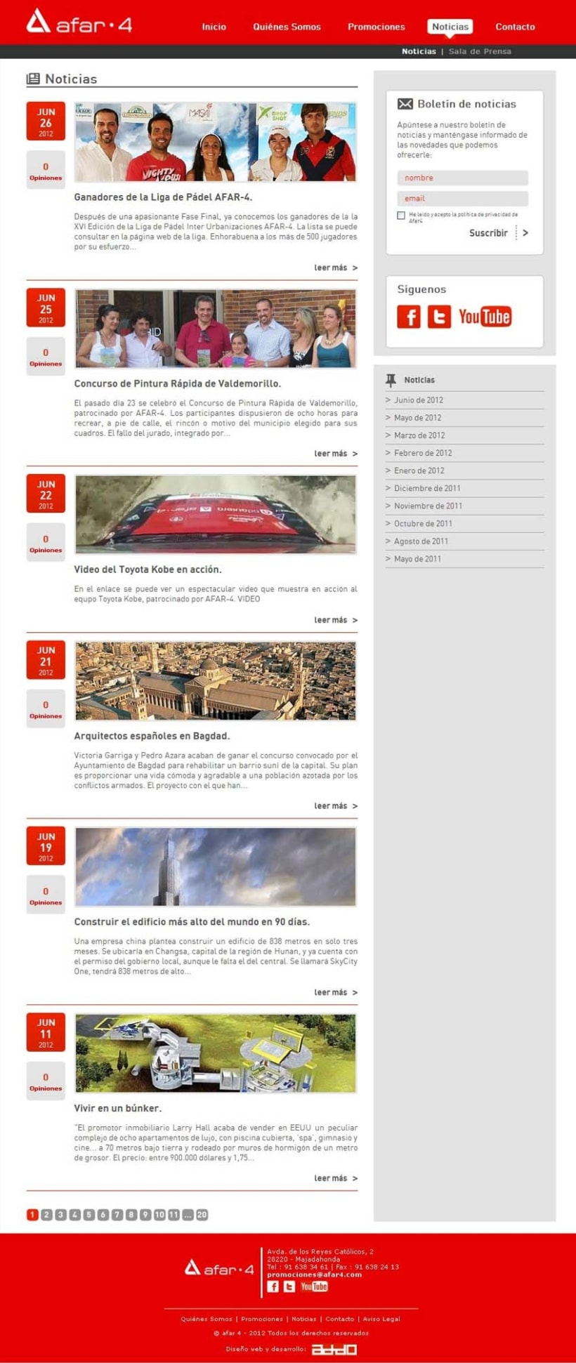 xHTML + CSS + Javascript + PHP + MySQL + CMS (Gestor de Contenidos) - Afar4 Promociones 4