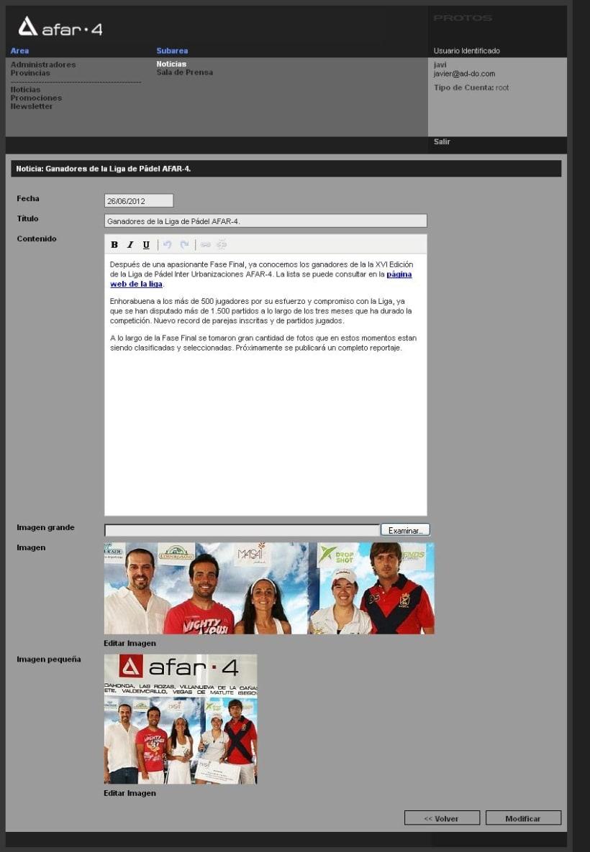 xHTML + CSS + Javascript + PHP + MySQL + CMS (Gestor de Contenidos) - Afar4 Promociones 5