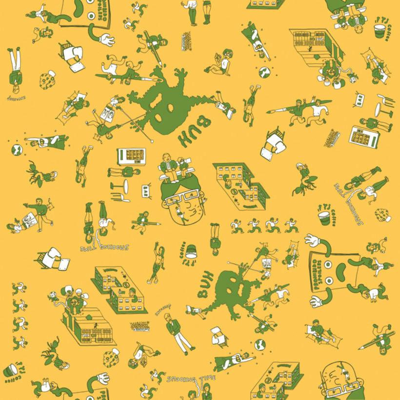 Ilustración de habitat. Hule de mesa. 5