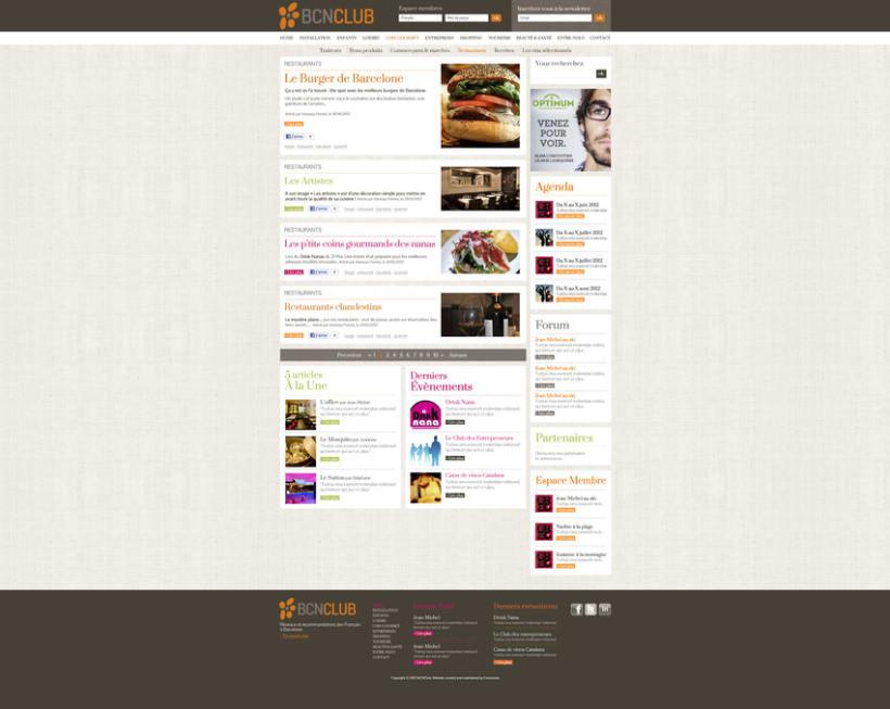 Direction Artistique de la page web de BCNClub 2