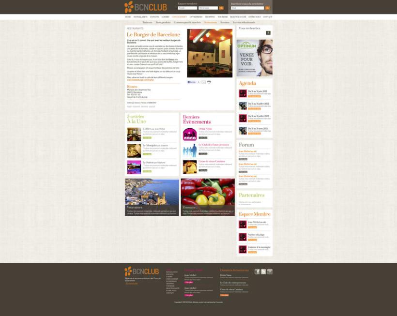 Direction Artistique de la page web de BCNClub 3