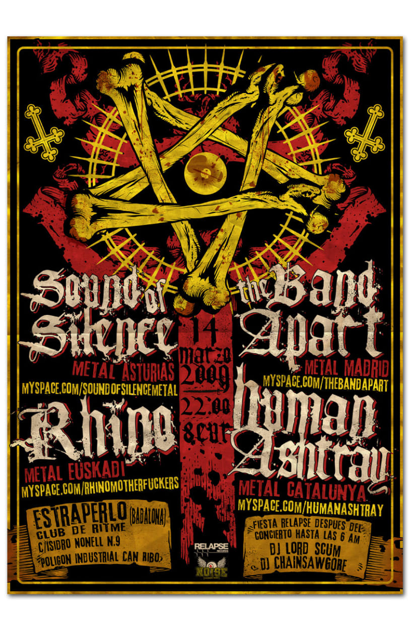 SOUND OF SILENCE + THE BAND APART + RHINO + HUMAN ASHTRAY | poster 1