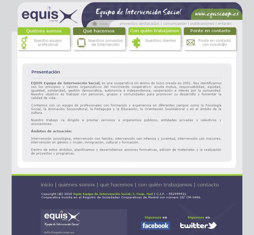 Website EQUIS: Equipo de Intervención Social 2