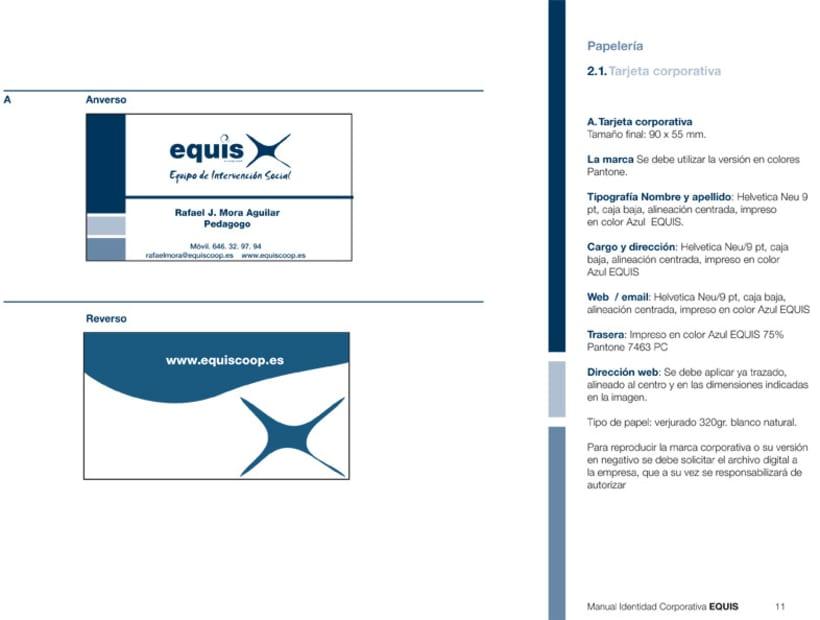 Manual Corporativo (Manual de Identidad Corporativa De EQUIS Equipo de Intervención Social 11