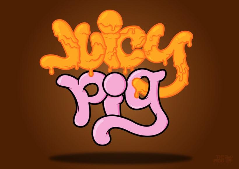 """""""Juicy Pig"""" ilustración y tipografía 2"""