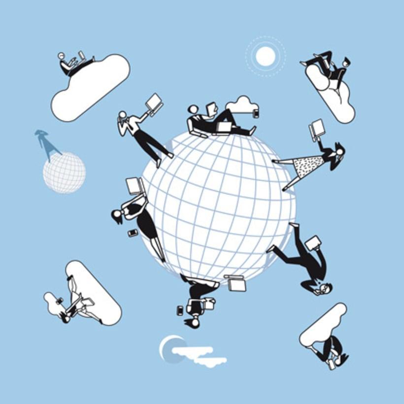Ilustraciones vectoriales en torno al concepto de cloud computing 4
