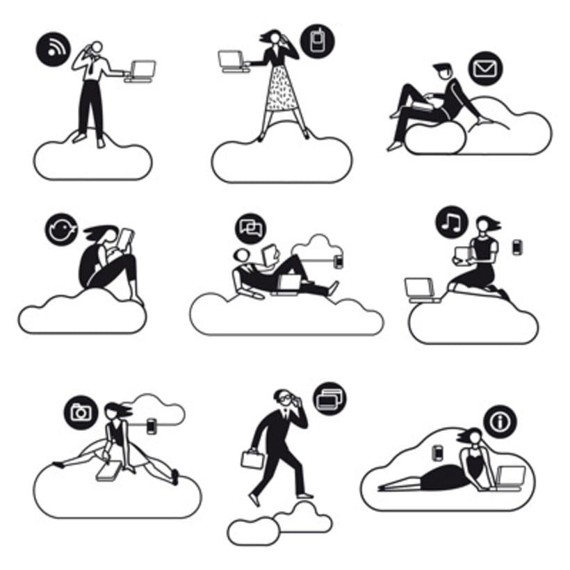Ilustraciones vectoriales en torno al concepto de cloud computing 3