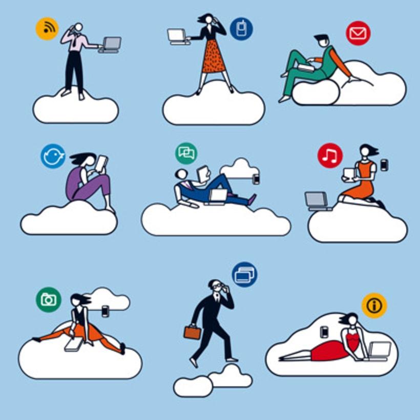 Ilustraciones vectoriales en torno al concepto de cloud computing 2