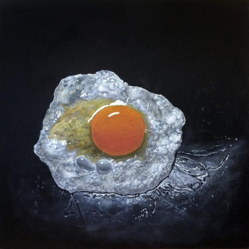 Huevo frito (Acrílico sobre tabla) 1