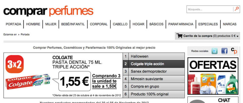 Web de la tienda online Comprar perfumes 1