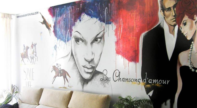 Pintura mural salón actual 10