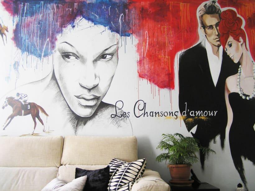Pintura mural salón actual 9