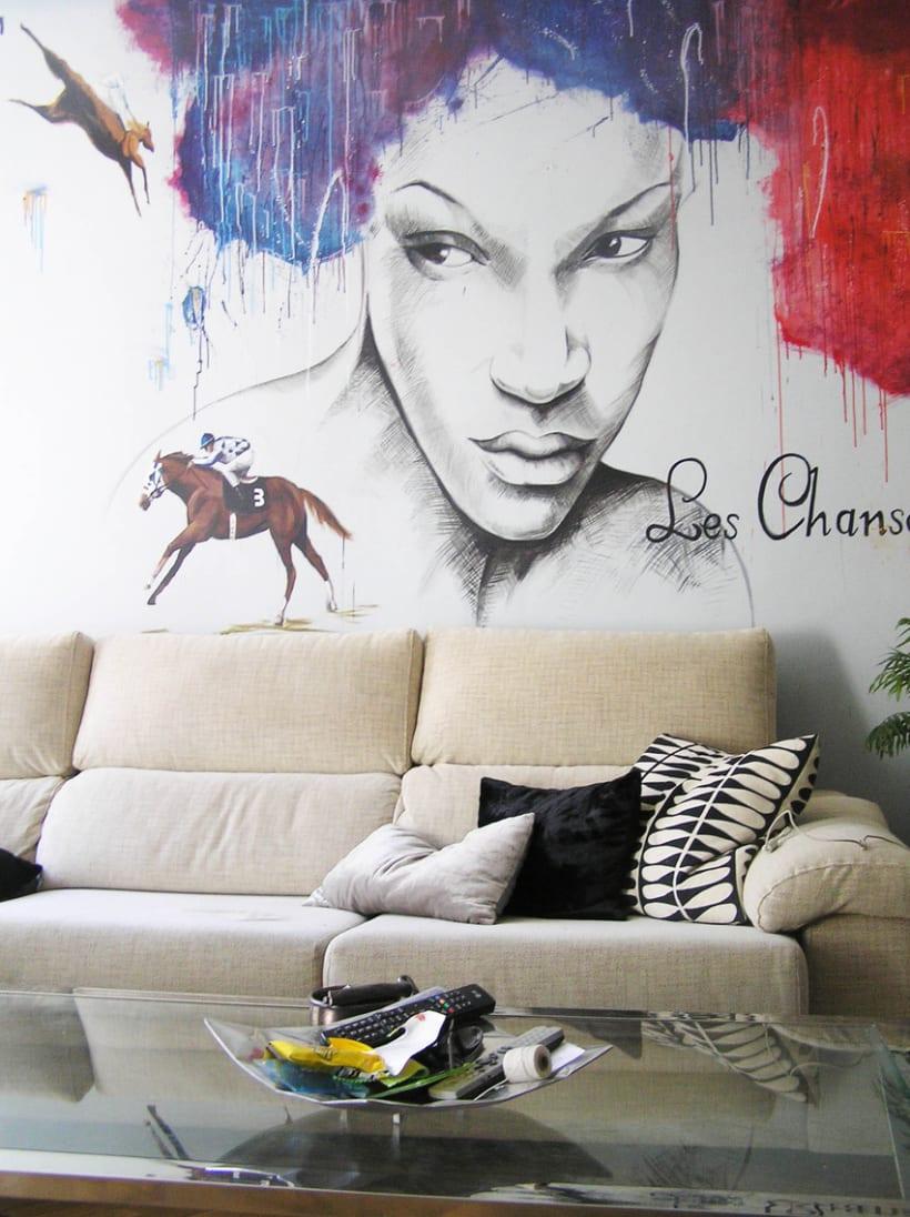 Pintura mural salón actual 8