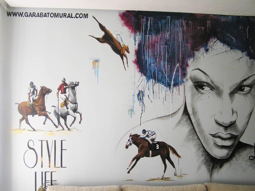 Pintura mural salón actual 4