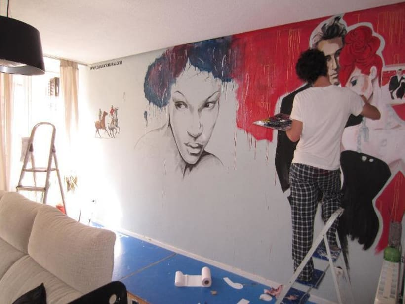 Pintura mural salón actual 3