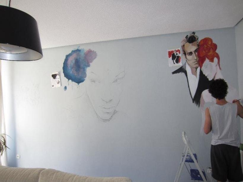 Pintura mural salón actual 2