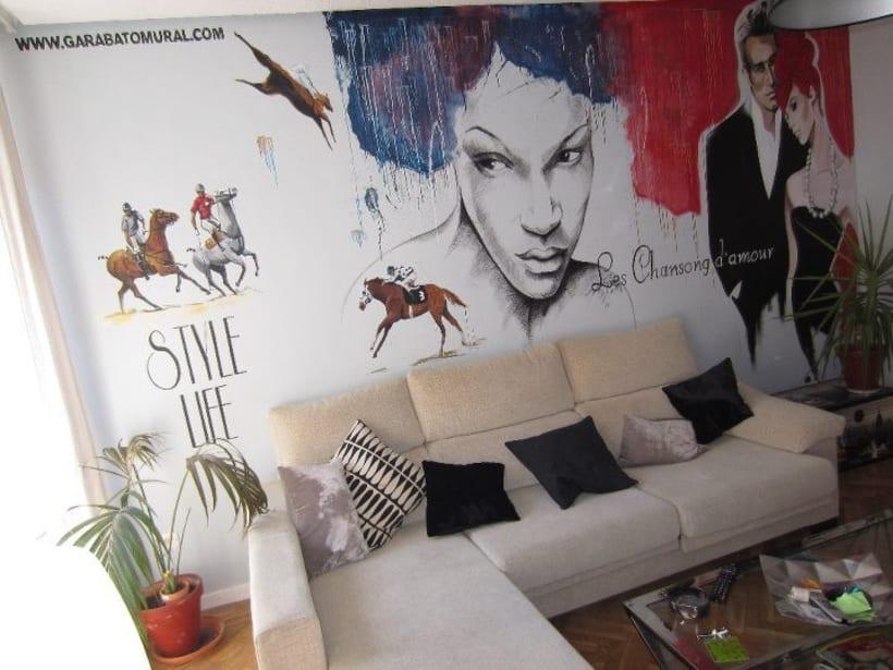 Pintura mural salón actual 1