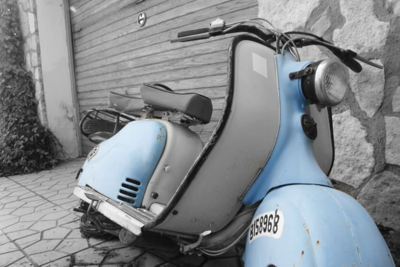 Blue Vespa in the Backyard 1
