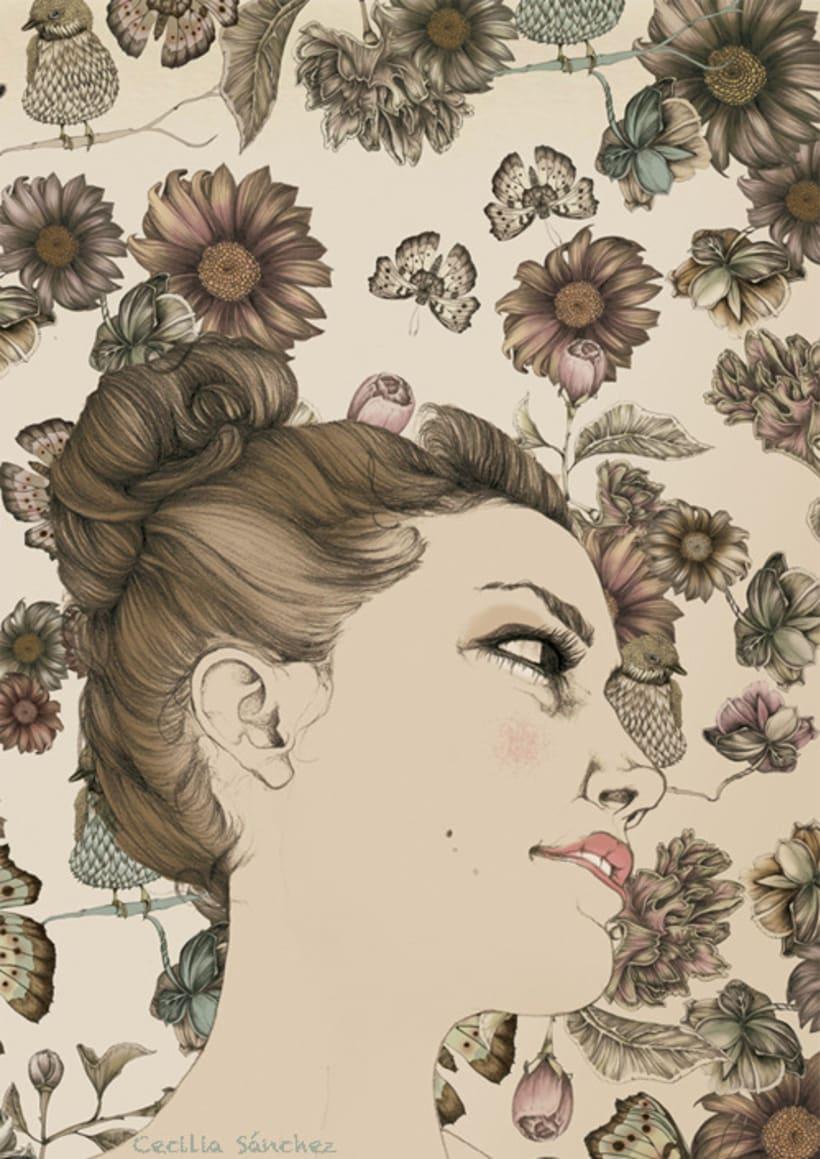 Retratos con patrón de flores 8