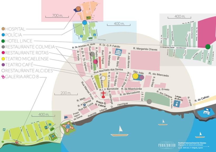 Mapa Lugares de Interés Ponta Delgada 1