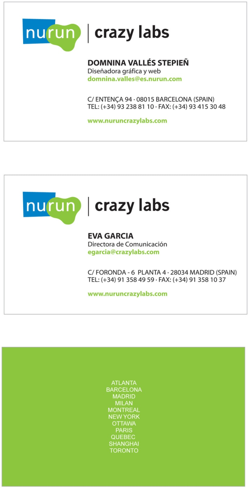 Business Card - Nurun and Crazy Labs 1