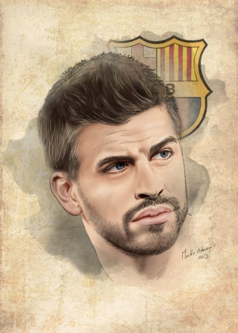 Gerard Pique Portrait. F.C. Barcelona. by Martín Echeverría 3