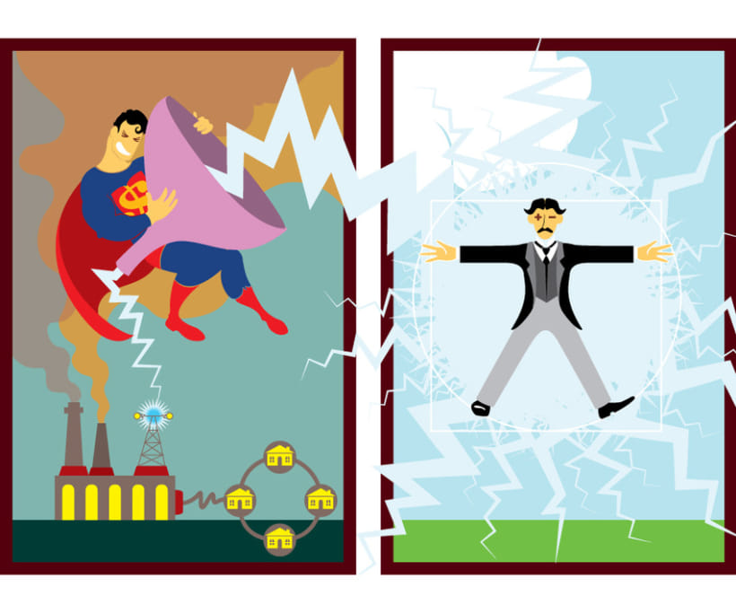 Ilustración / Dicotomía Supergods vs. Nikola Tesla 2
