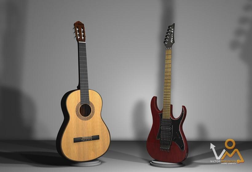 Escena Guitarras 3D 3