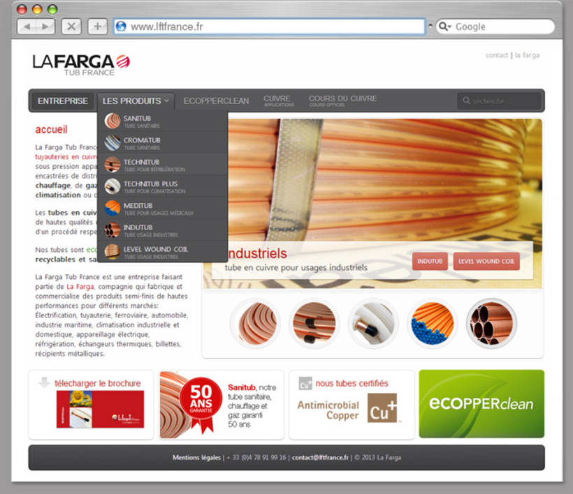 Diseño Web La Farga Tub France 2
