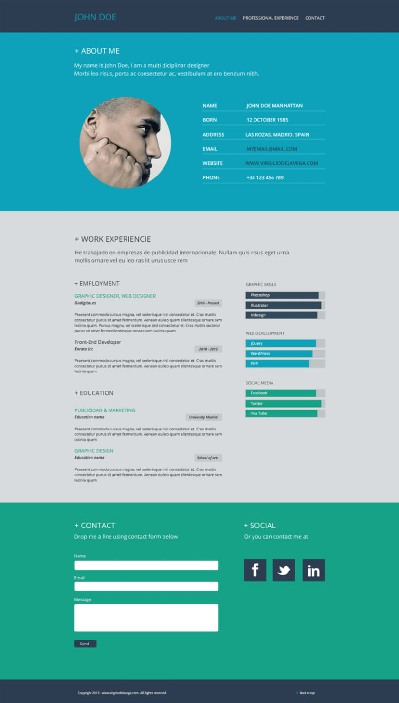 Resume Flat Web Design | Domestika