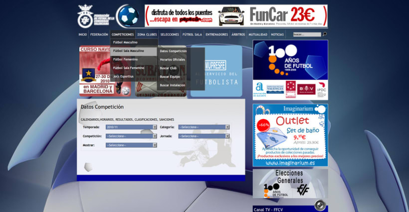Web de la Federación de Fútbol de la Comunidad Valenciana 4