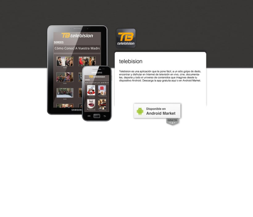 Telebision landing page Android App 1
