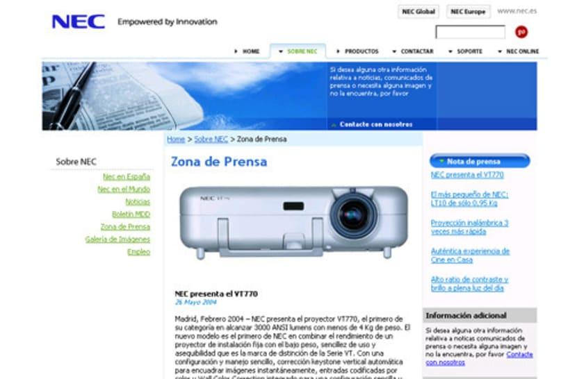 Nec Ibérica sitio corporativo 1