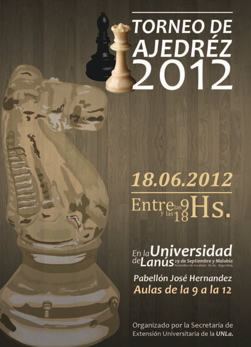 Afiche torneo de ajedrez en le Universidad de Lanús 2