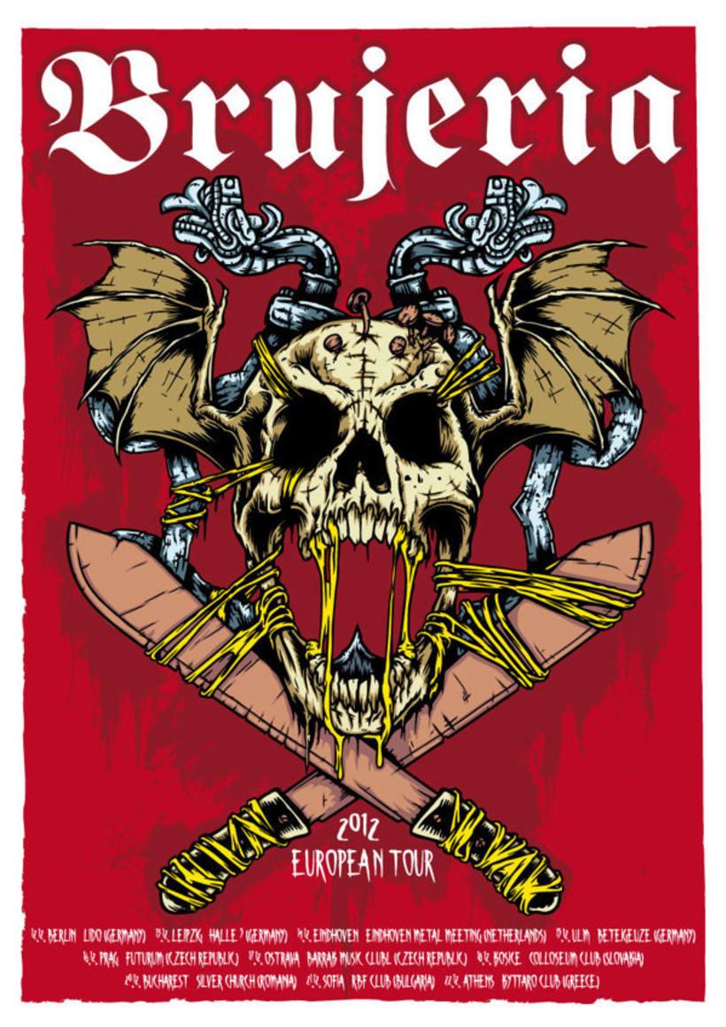Brujería European Tour 2012 - Poster de la gira y Camiseta de merchandise  1