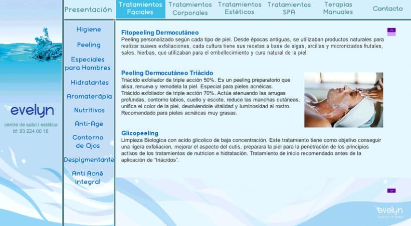 Diseño y creación web Evelyn (Centro de estética). 1