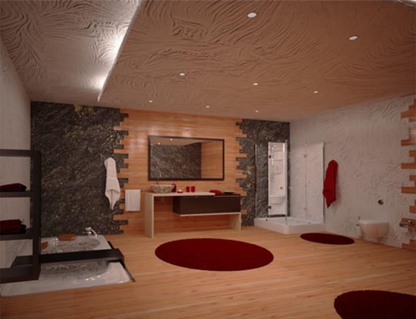 render de un baño ( modelado, texturizado, iluminación) 1