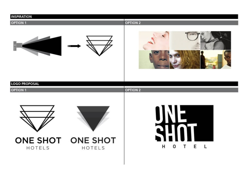 identidad corporativa one shot hotels domestika