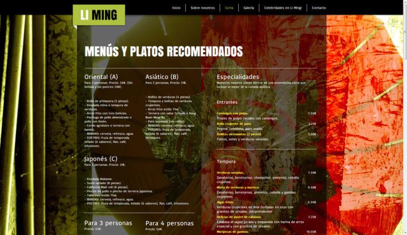 Restaurante Li Ming - Diseño, gestión, maquetación y programación web. 3