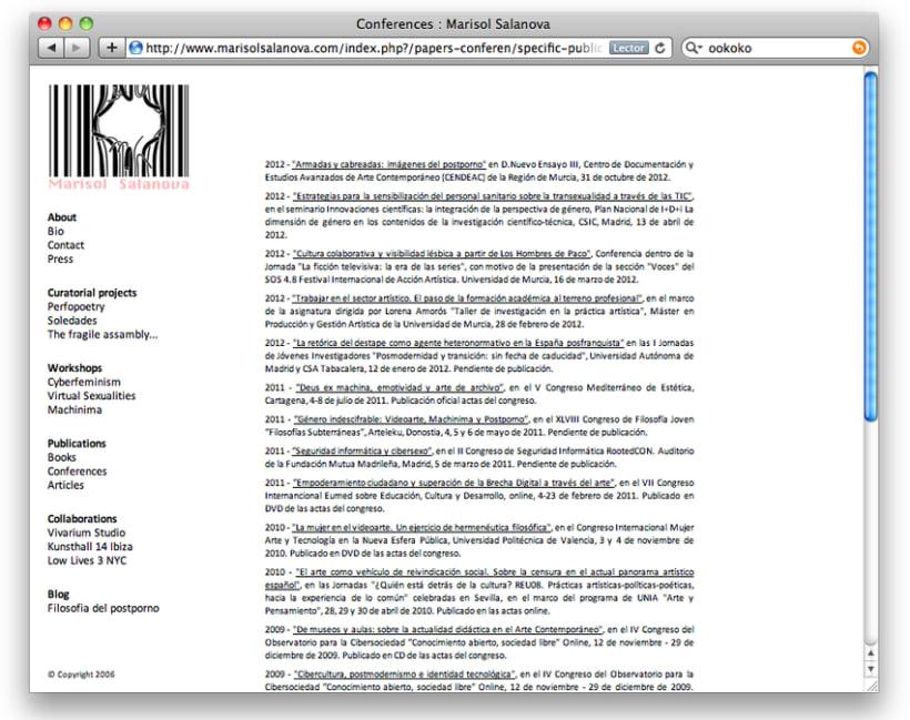 Diseño y creación web Marisol Salanova (Curator). 3