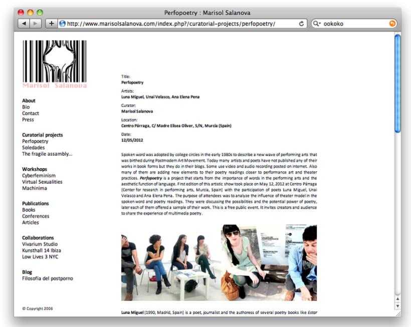 Diseño y creación web Marisol Salanova (Curator). 1